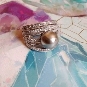 NVC Silver Pearl Cocktail Ring